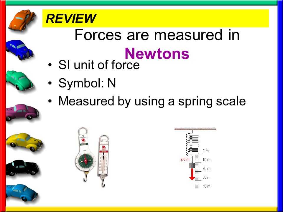 Forces are measured in Newtons SI unit of force Symbol: N Measured by using a spring scale REVIEW