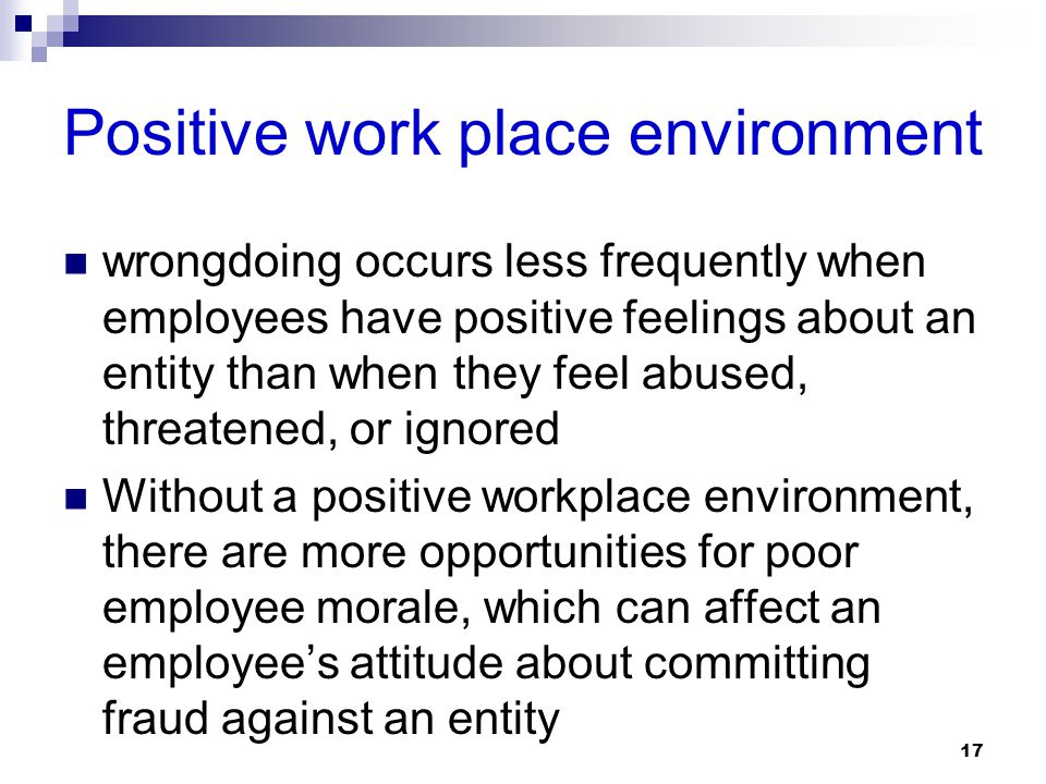 17 Positive work place environment wrongdoing occurs less frequently when employees have positive feelings about an entity than when they feel abused,