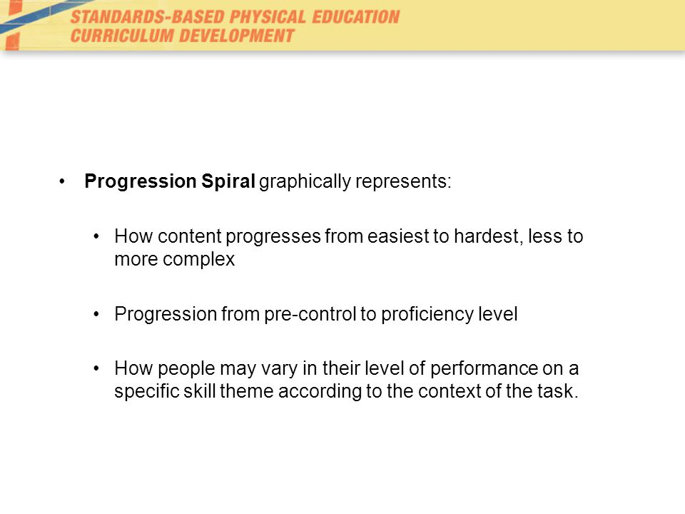 Progression Spiral graphically represents: How content progresses from easiest to hardest, less to more complex Progression from pre-control to profic