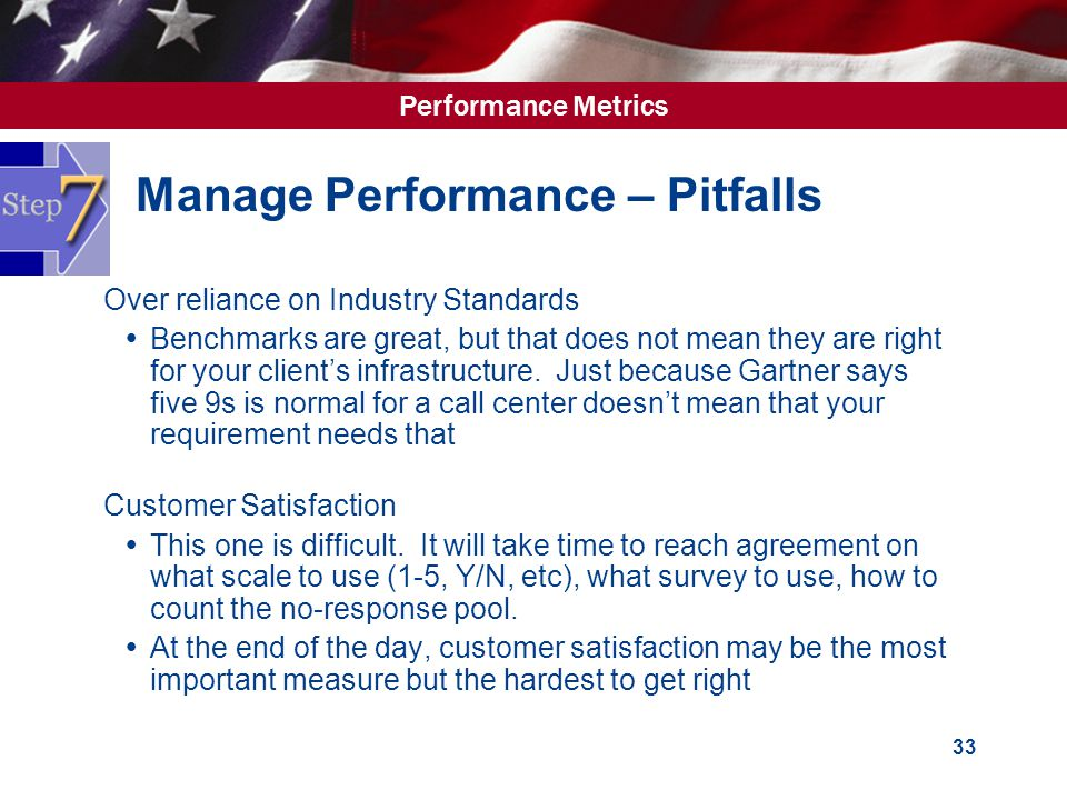 Performance Metrics 33 Manage Performance – Pitfalls  Over reliance on Industry Standards  Benchmarks are great, but that does not mean they are right for your client's infrastructure.