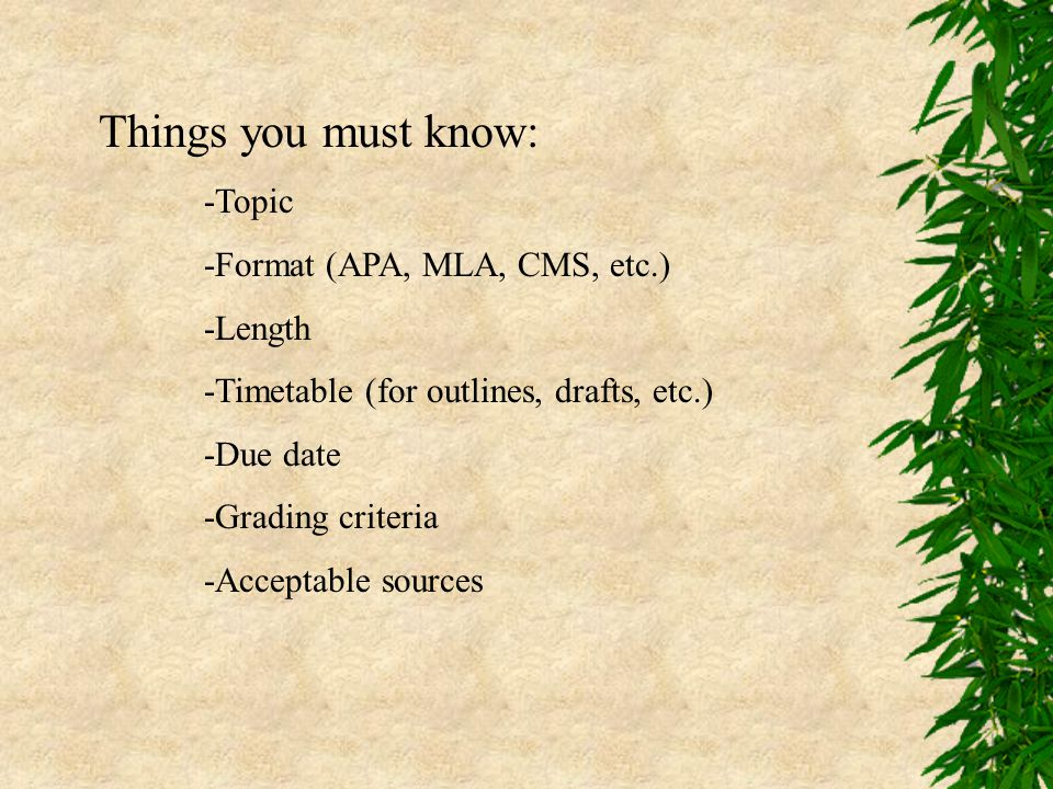 Things you must know: -Topic -Format (APA, MLA, CMS, etc.) -Length -Timetable (for outlines, drafts, etc.) -Due date -Grading criteria -Acceptable sou