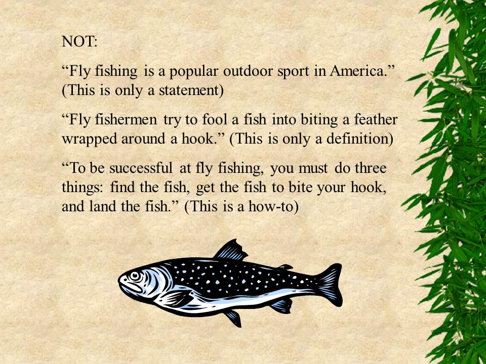"NOT: ""Fly fishing is a popular outdoor sport in America."" (This is only a statement) ""Fly fishermen try to fool a fish into biting a feather wrapped a"