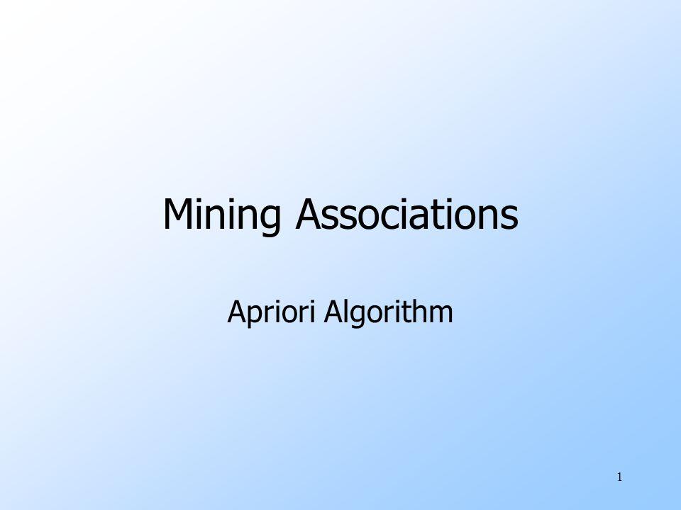1 Mining Associations Apriori Algorithm