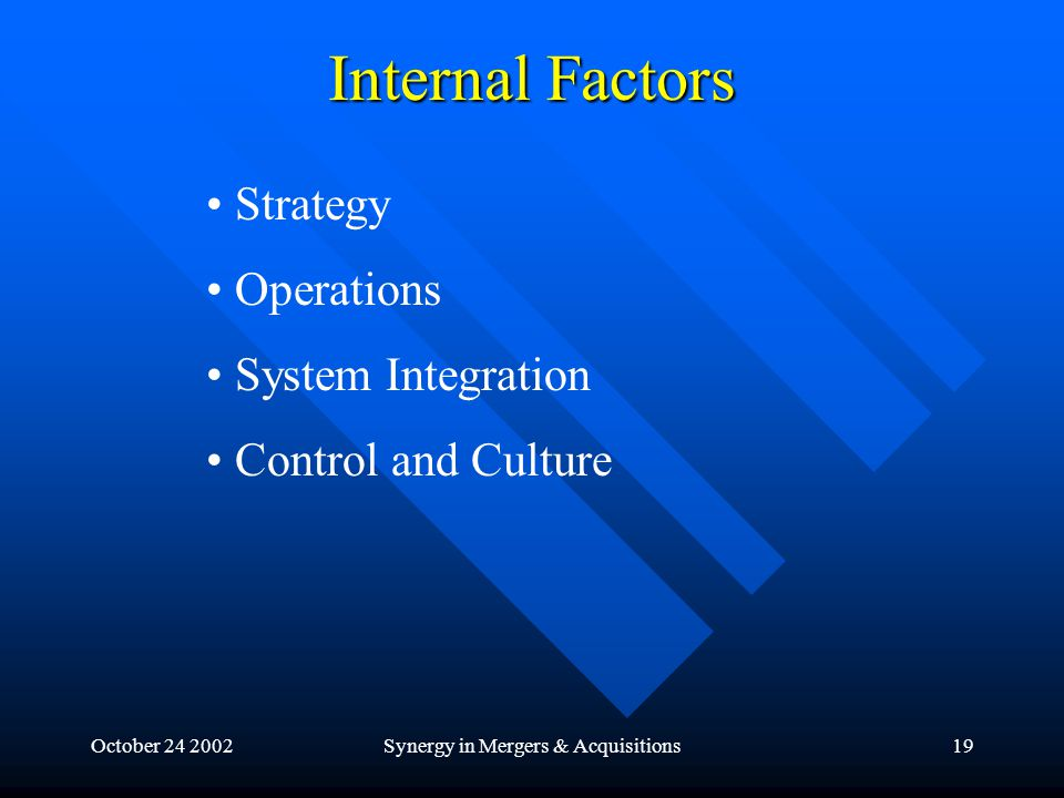 October 24 2002Synergy in Mergers & Acquisitions19 Internal Factors Strategy Operations System Integration Control and Culture