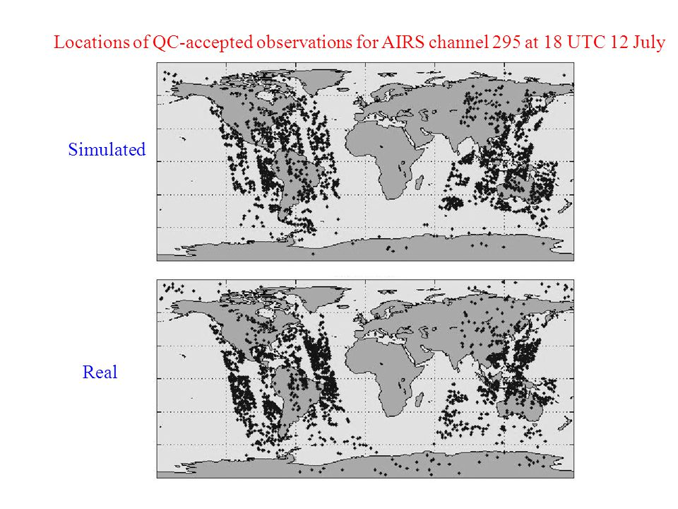 Locations of QC-accepted observations for AIRS channel 295 at 18 UTC 12 July Real Simulated