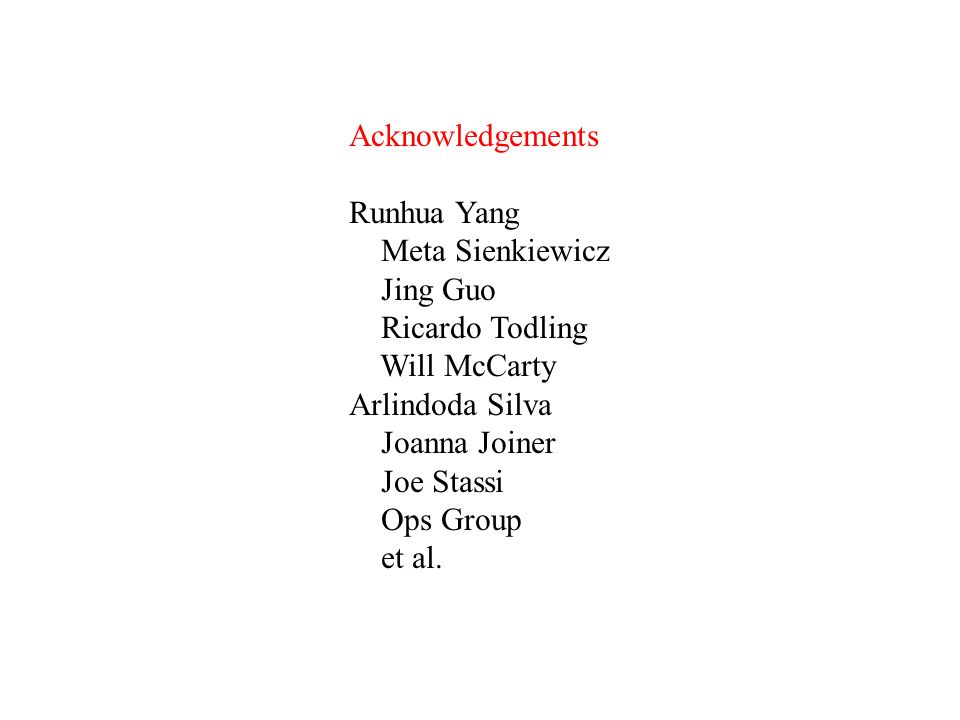 Acknowledgements Runhua Yang Meta Sienkiewicz Jing Guo Ricardo Todling Will McCarty Arlindoda Silva Joanna Joiner Joe Stassi Ops Group et al.