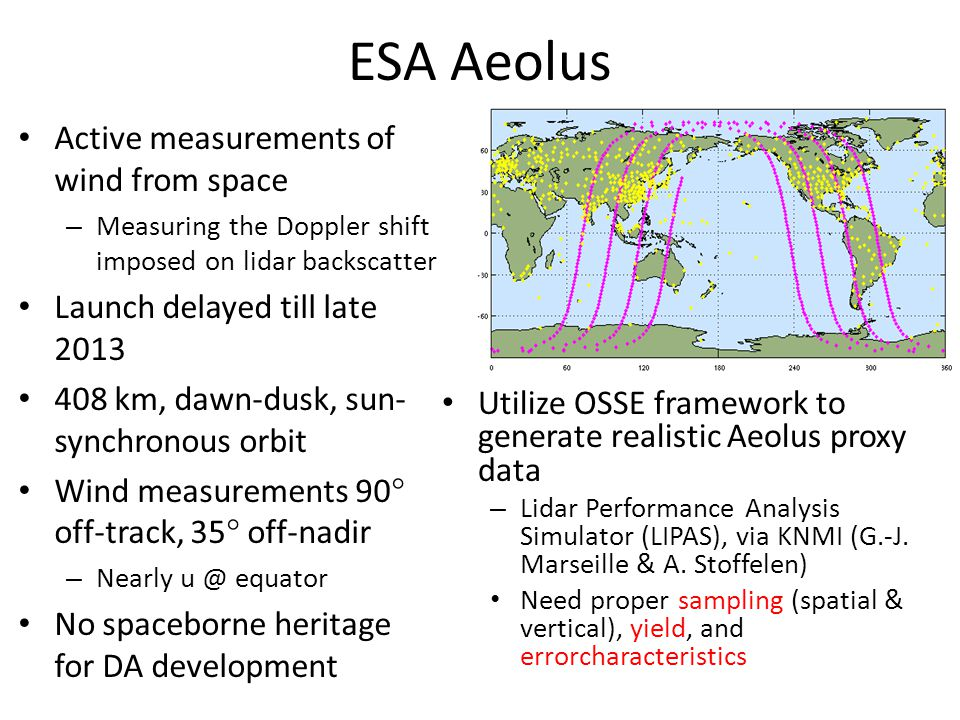 ESA Aeolus Active measurements of wind from space – Measuring the Doppler shift imposed on lidar backscatter Launch delayed till late 2013 408 km, dawn-dusk, sun- synchronous orbit Wind measurements 90° off-track, 35° off-nadir – Nearly u @ equator No spaceborne heritage for DA development Utilize OSSE framework to generate realistic Aeolus proxy data – Lidar Performance Analysis Simulator (LIPAS), via KNMI (G.-J.