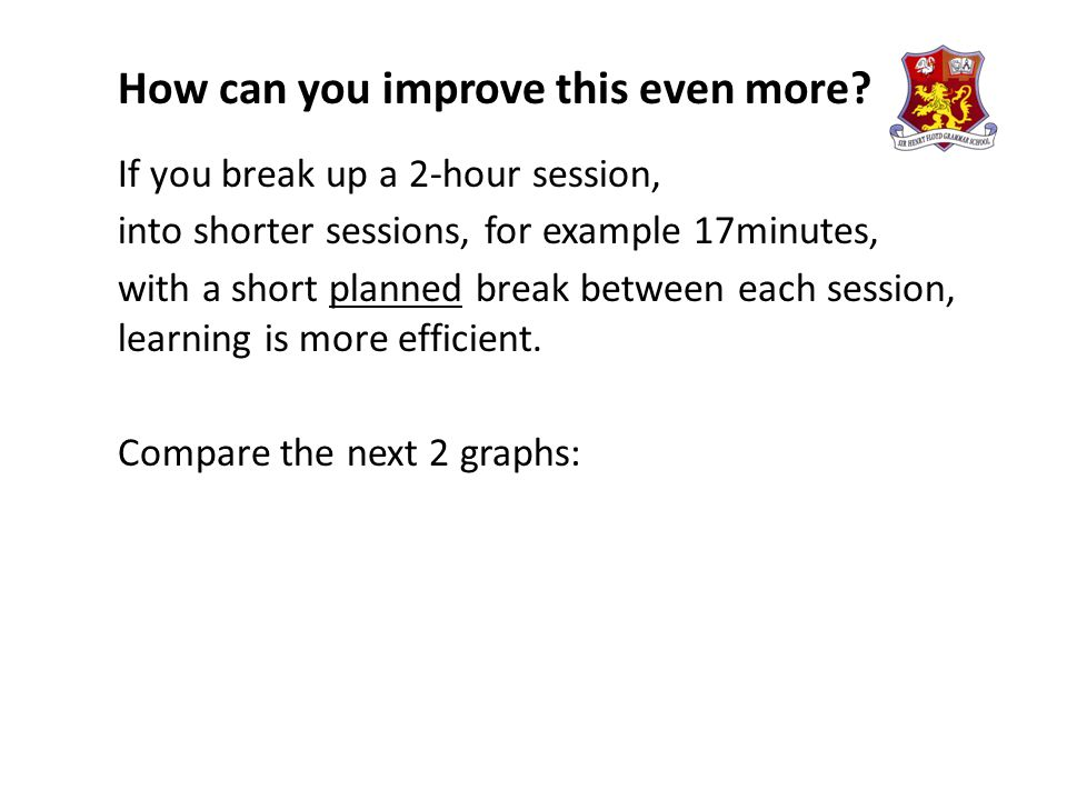 How can you improve this even more? If you break up a 2-hour session, into shorter sessions, for example 17minutes, with a short planned break between
