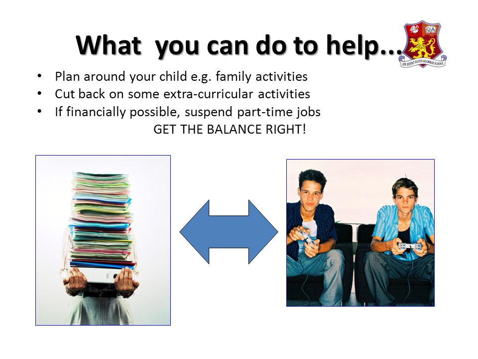 What you can do to help... Plan around your child e.g. family activities Cut back on some extra-curricular activities If financially possible, suspend