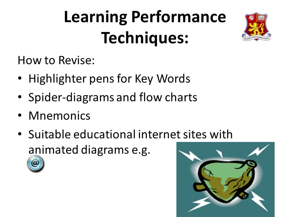 Learning Performance Techniques: How to Revise: Highlighter pens for Key Words Spider-diagrams and flow charts Mnemonics Suitable educational internet