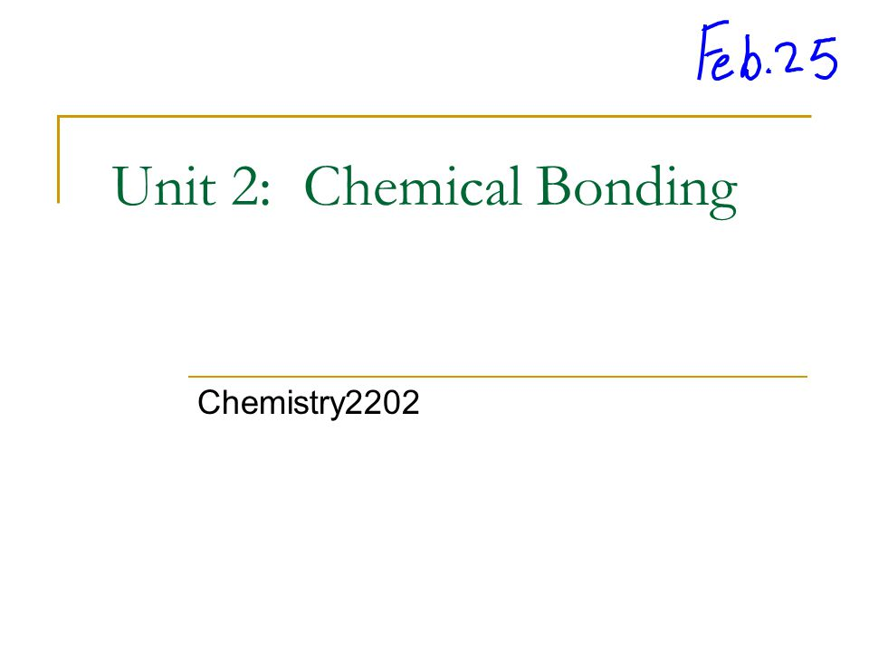 Unit 2: Chemical Bonding Chemistry2202
