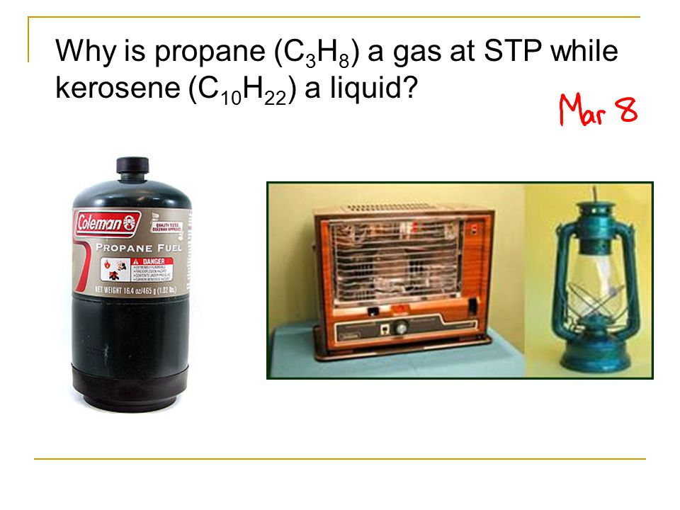 Why is propane (C 3 H 8 ) a gas at STP while kerosene (C 10 H 22 ) a liquid?