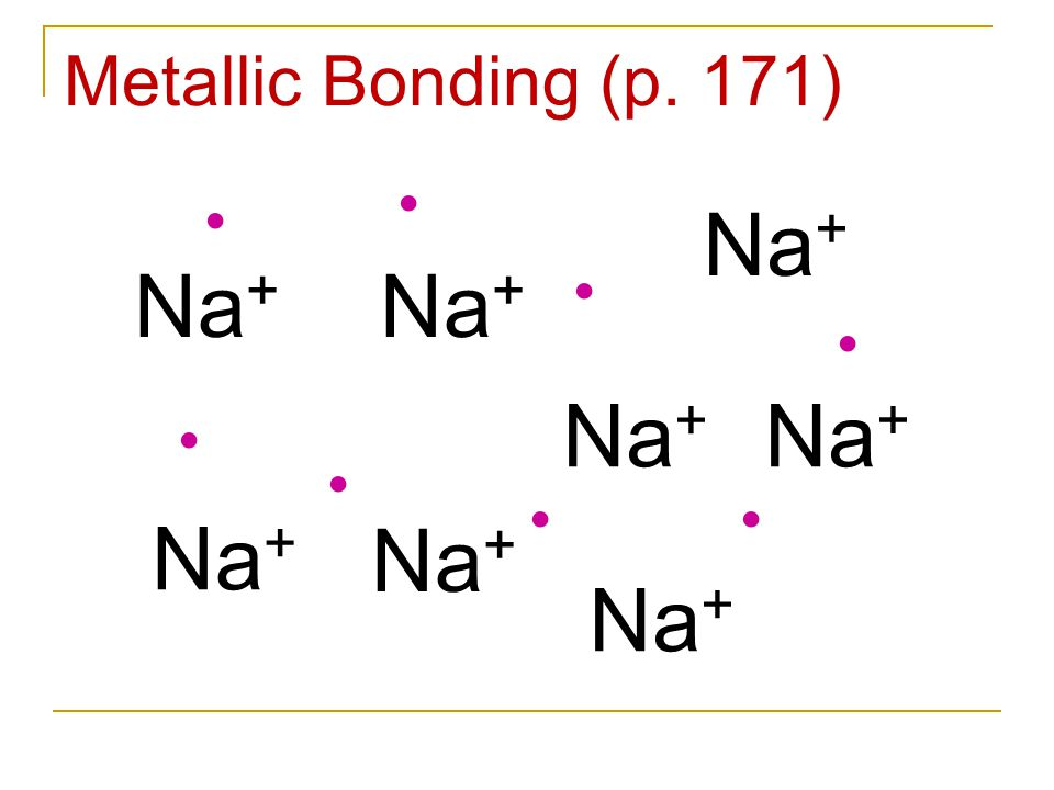 Na + Metallic Bonding (p. 171) Na + Na + Na + Na + Na + Na + Na +