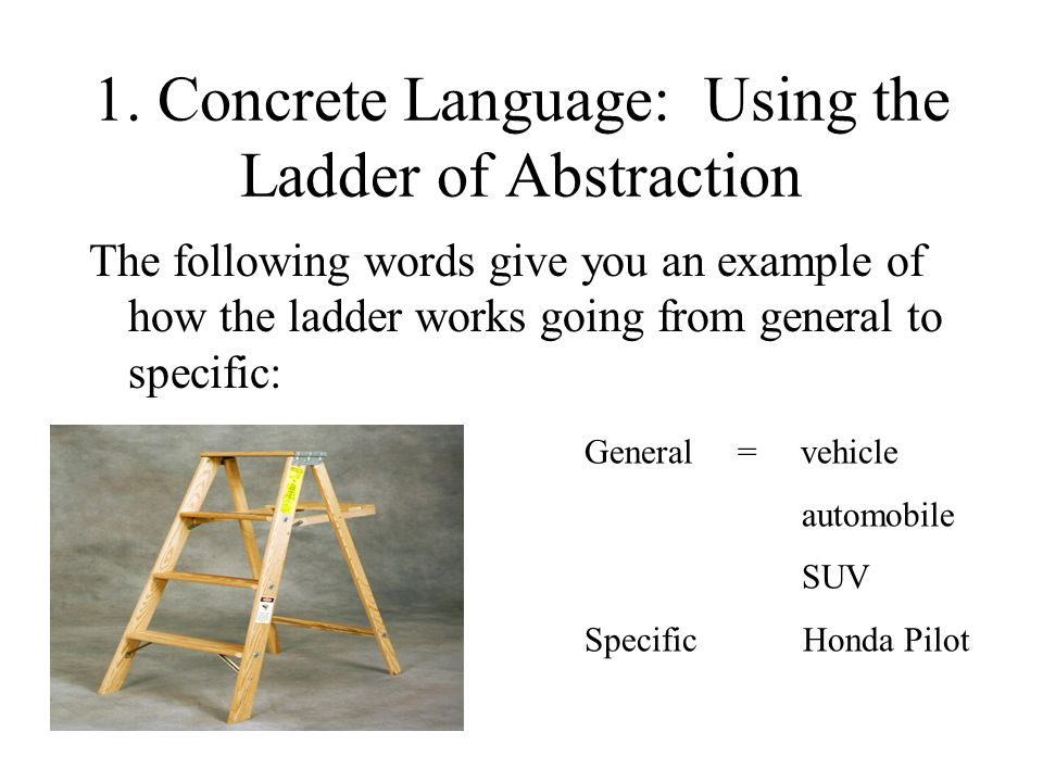 1. Concrete Language: Using the Ladder of Abstraction The following words give you an example of how the ladder works going from general to specific: