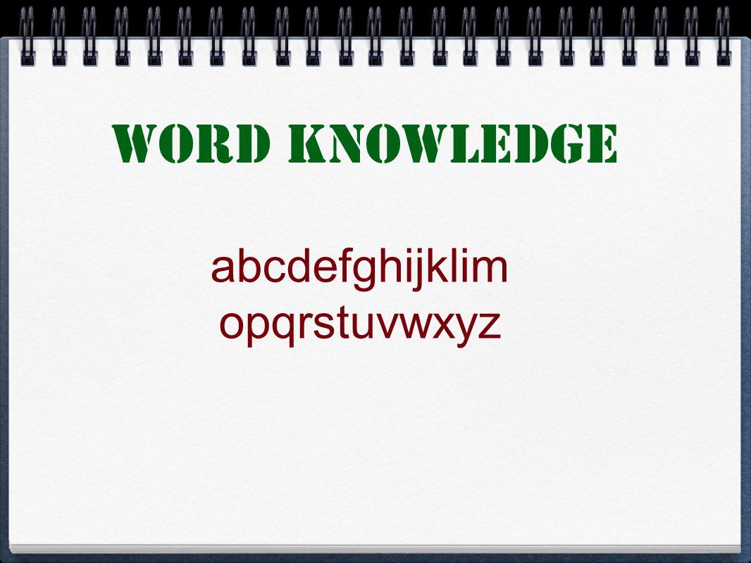 Word Knowledge abcdefghijklim opqrstuvwxyz