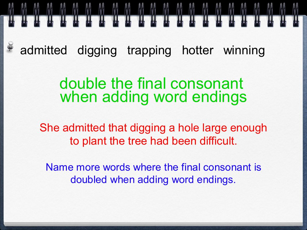 admitted digging trapping hotter winning double the final consonant when adding word endings She admitted that digging a hole large enough to plant th
