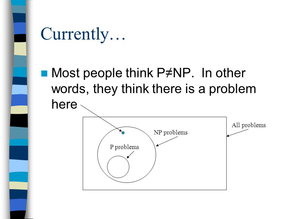 Currently… Most people think P≠NP.