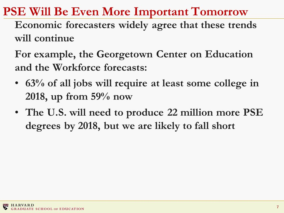 7 PSE Will Be Even More Important Tomorrow Economic forecasters widely agree that these trends will continue For example, the Georgetown Center on Education and the Workforce forecasts: 63% of all jobs will require at least some college in 2018, up from 59% now The U.S.