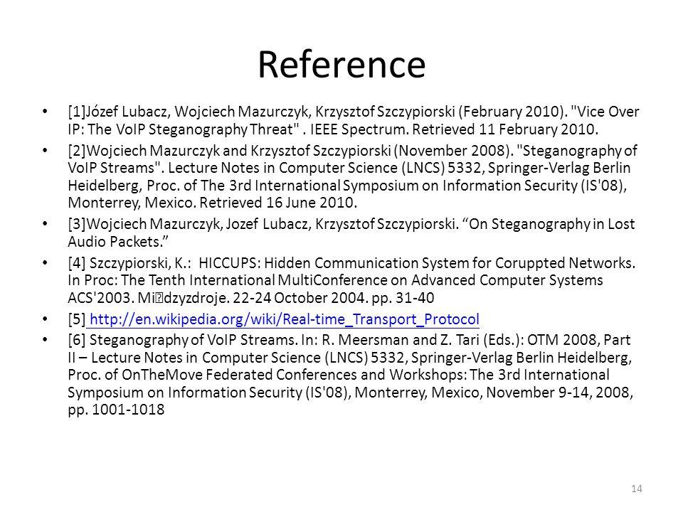 Reference [1]Józef Lubacz, Wojciech Mazurczyk, Krzysztof Szczypiorski (February 2010).