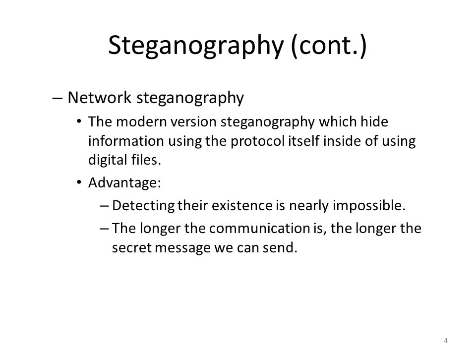 Steganography threat Contradiction between threat and security.