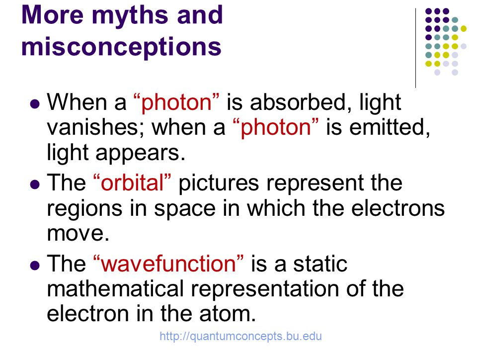 http://quantumconcepts.bu.edu More myths and misconceptions When a photon is absorbed, light vanishes; when a photon is emitted, light appears.