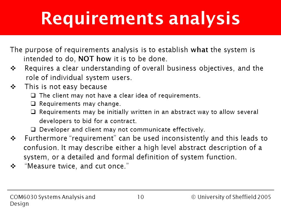 10COM6030 Systems Analysis and Design © University of Sheffield 2005 Requirements analysis The purpose of requirements analysis is to establish what the system is intended to do, NOT how it is to be done.