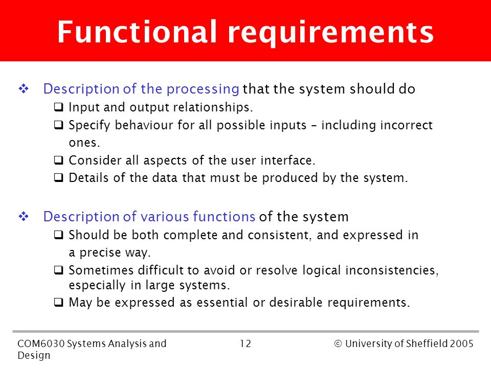 12COM6030 Systems Analysis and Design © University of Sheffield 2005 Functional requirements  Description of the processing that the system should do
