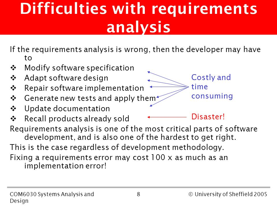 8COM6030 Systems Analysis and Design © University of Sheffield 2005 Difficulties with requirements analysis If the requirements analysis is wrong, then the developer may have to  Modify software specification  Adapt software design  Repair software implementation  Generate new tests and apply them  Update documentation  Recall products already sold Requirements analysis is one of the most critical parts of software development, and is also one of the hardest to get right.