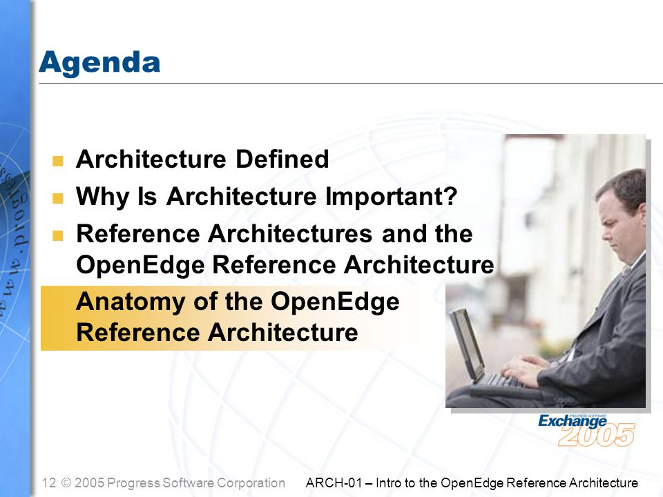 12© 2005 Progress Software Corporation ARCH-01 – Intro to the OpenEdge Reference Architecture Agenda n Architecture Defined n Why Is Architecture Impo