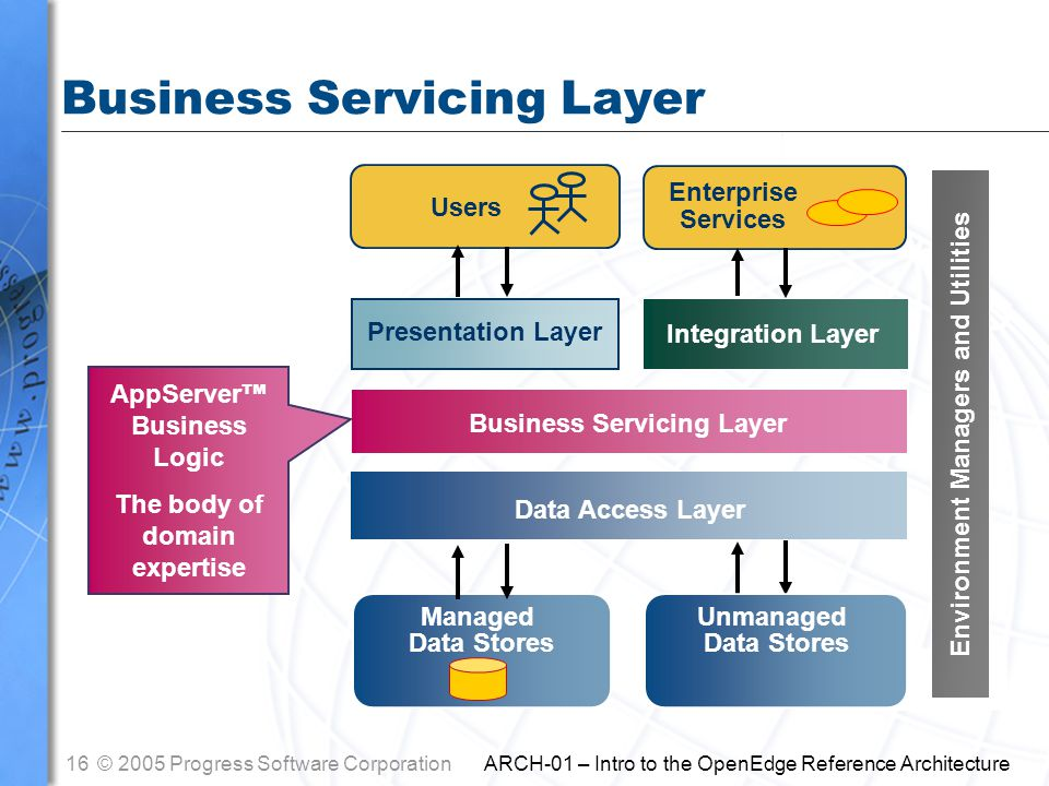 16© 2005 Progress Software Corporation ARCH-01 – Intro to the OpenEdge Reference Architecture Users Presentation Layer Business Servicing Layer Data Access Layer Managed Data Stores Enterprise Services Integration Layer Business Servicing Layer AppServer ™ Business Logic The body of domain expertise Unmanaged Data Stores Environment Managers and Utilities