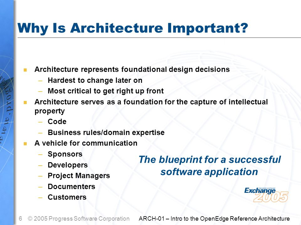 7© 2005 Progress Software Corporation ARCH-01 – Intro to the OpenEdge Reference Architecture Agenda n Architecture Defined n Why Is Architecture Important.