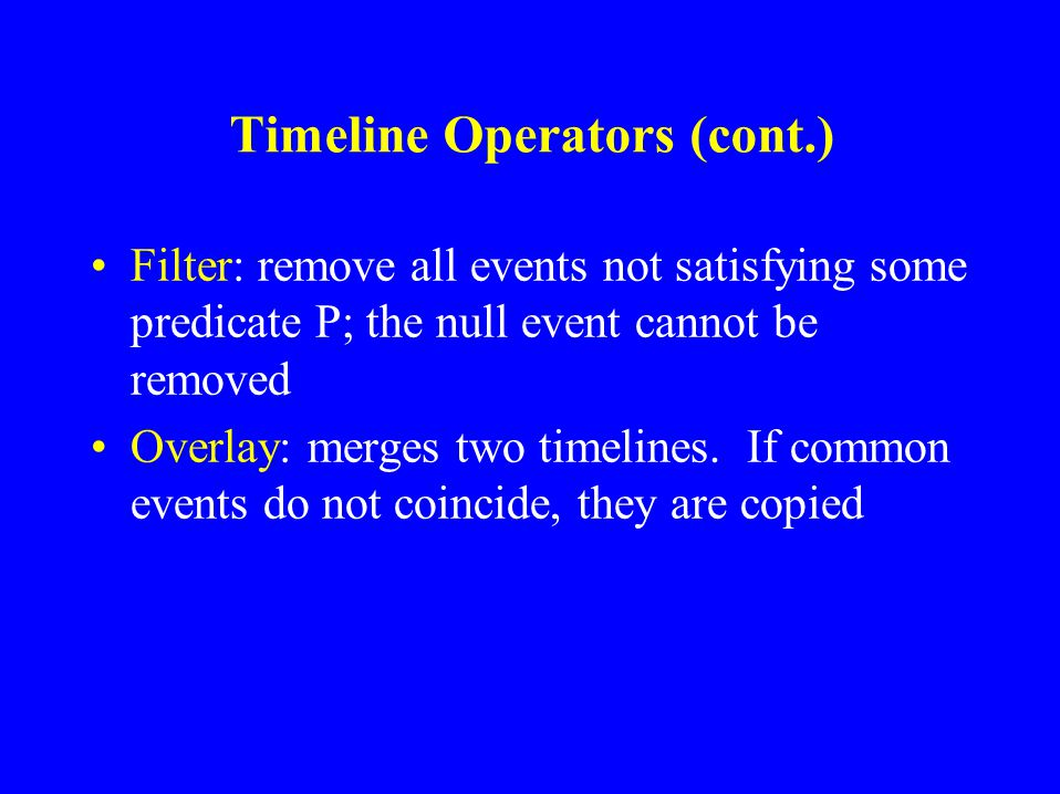Timeline Operators New: creates a new timeline containing only the null event. Add: adds an event e to an existing timeline, may increase length of ti