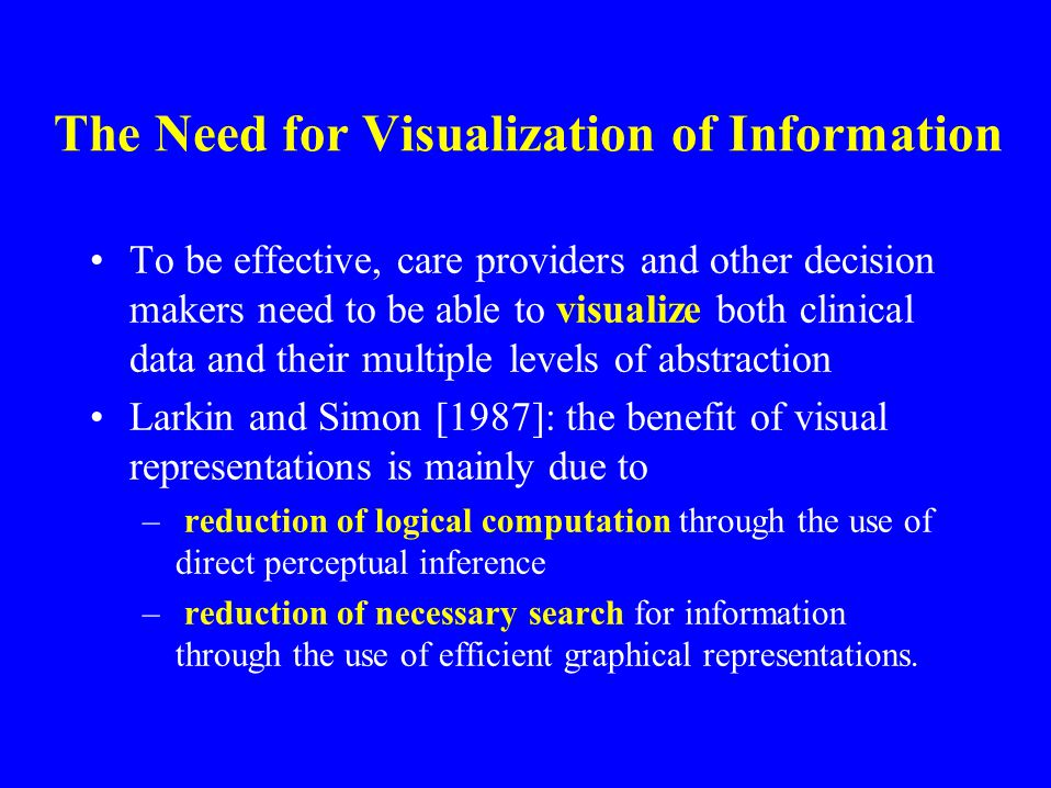The Need for Visualization of Information To be effective, care providers and other decision makers need to be able to visualize both clinical data and their multiple levels of abstraction Larkin and Simon [1987]: the benefit of visual representations is mainly due to – reduction of logical computation through the use of direct perceptual inference – reduction of necessary search for information through the use of efficient graphical representations.