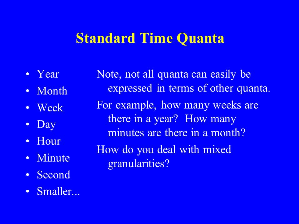 The Granularity Issue Not all events are measured the same way Example: Birthday is accurate to the day, but age is accurate to the year The granulari