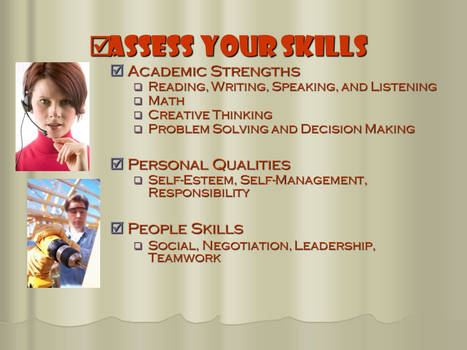  Assess Your Skills  Academic Strengths  Reading, Writing, Speaking, and Listening  Math  Creative Thinking  Problem Solving and Decision Making