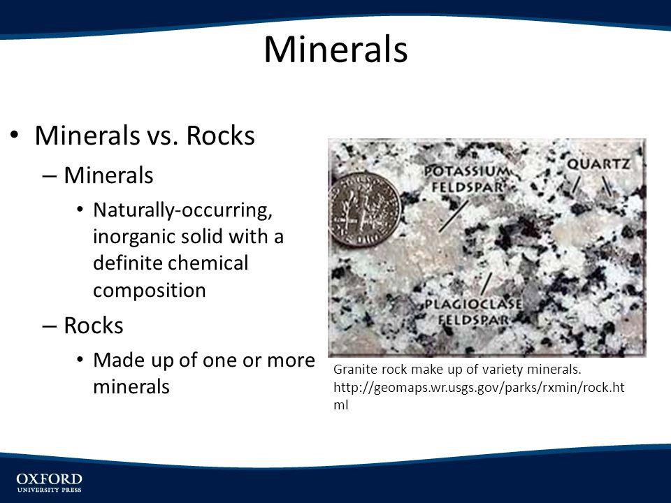 Minerals Minerals vs.