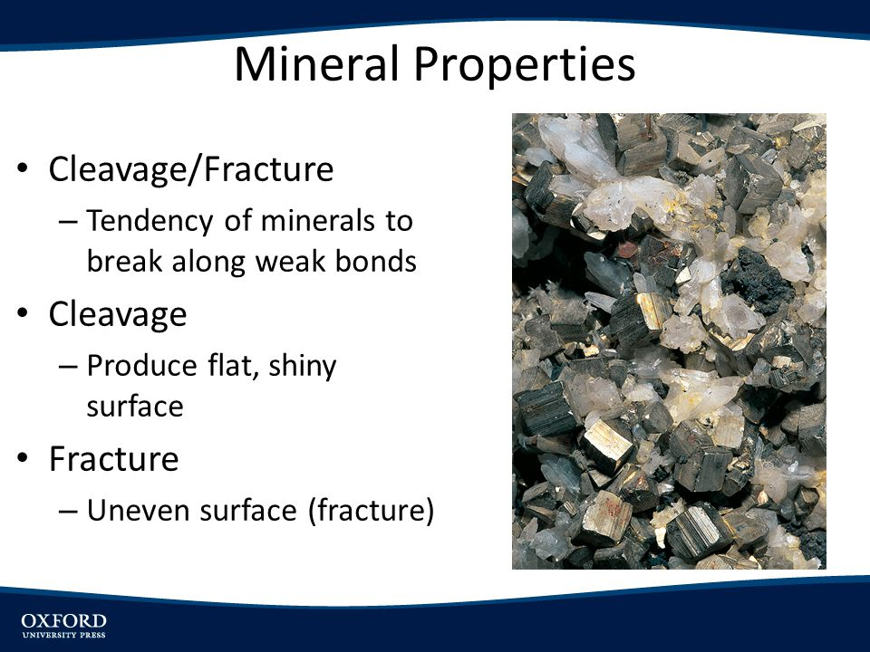 Mineral Properties Cleavage/Fracture – Tendency of minerals to break along weak bonds Cleavage – Produce flat, shiny surface Fracture – Uneven surface (fracture)