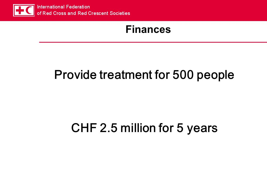 Finances Provide treatment for 500 people CHF 2.5 million for 5 years