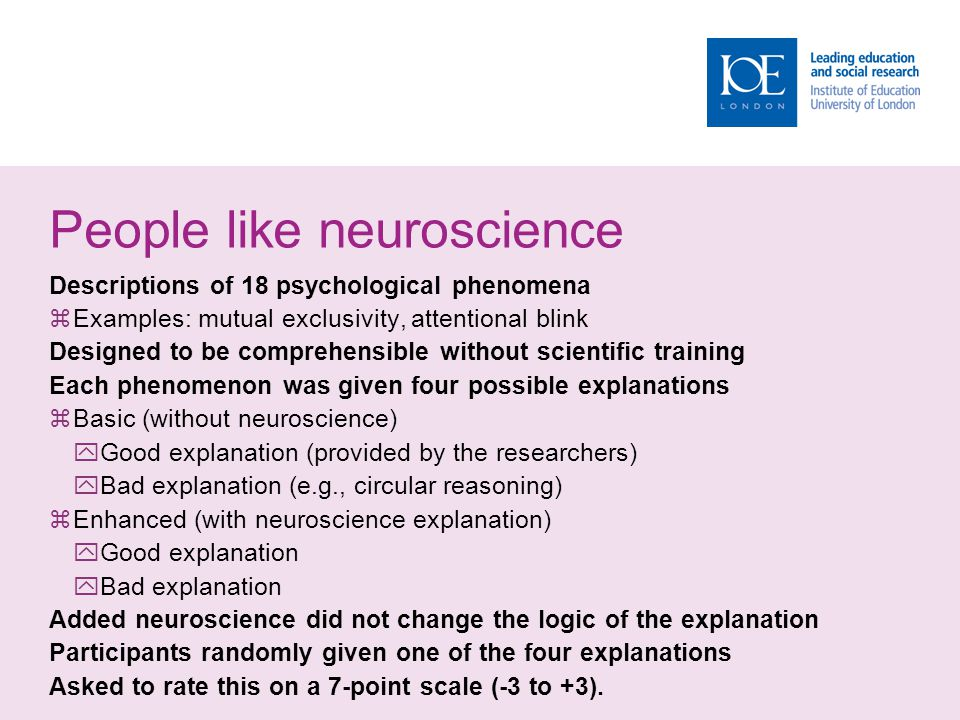 People like neuroscience Descriptions of 18 psychological phenomena  Examples: mutual exclusivity, attentional blink Designed to be comprehensible wi