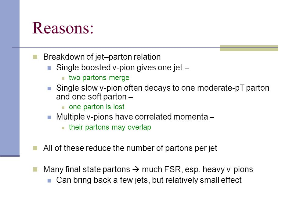 Reasons: Breakdown of jet–parton relation Single boosted v-pion gives one jet – two partons merge Single slow v-pion often decays to one moderate-pT parton and one soft parton – one parton is lost Multiple v-pions have correlated momenta – their partons may overlap All of these reduce the number of partons per jet Many final state partons  much FSR, esp.