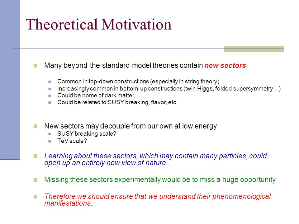 Theoretical Motivation Many beyond-the-standard-model theories contain new sectors.