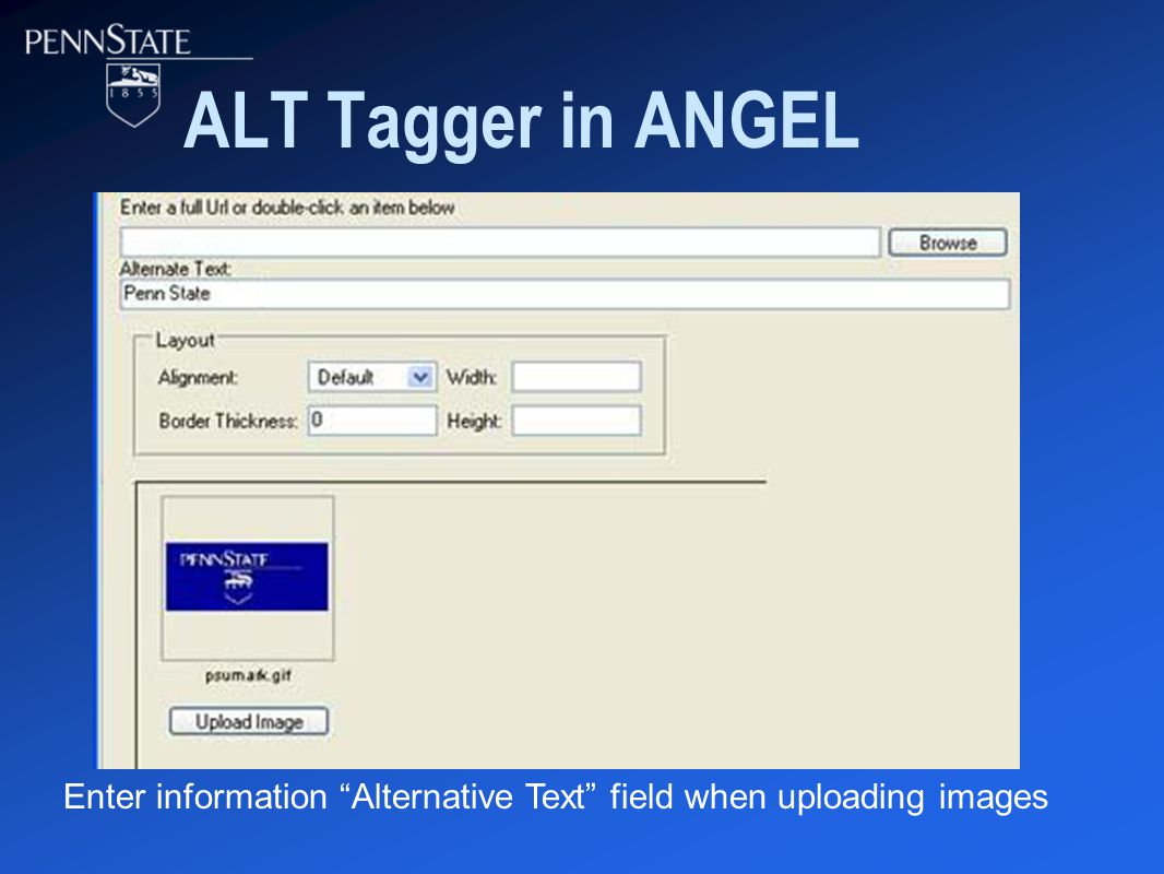 ALT Tagger in ANGEL Enter information Alternative Text field when uploading images