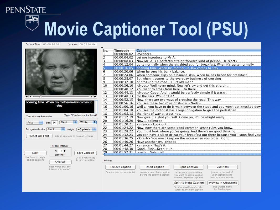 Movie Captioner Tool (PSU)
