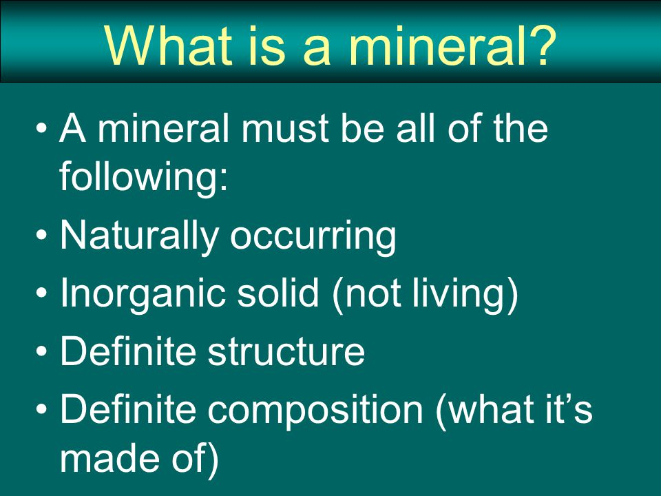 Mineral Identification Specific Gravity – comparing density of a mineral to the density of water