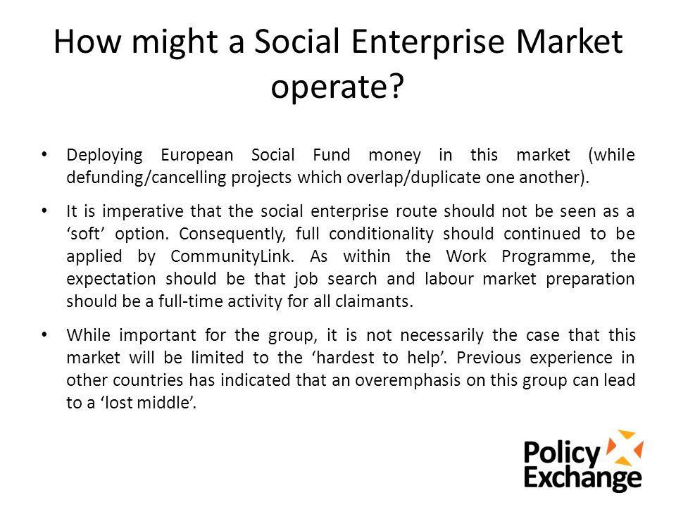 How might a Social Enterprise Market operate.