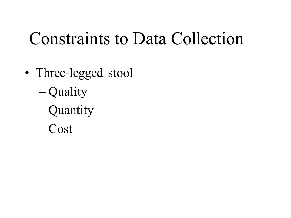 Constraints to Data Collection Three-legged stool –Quality –Quantity –Cost
