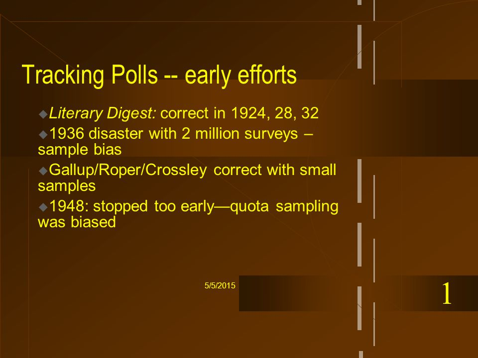 5/5/2015 Tracking Polls -- early efforts  Literary Digest: correct in 1924, 28, 32  1936 disaster with 2 million surveys – sample bias  Gallup/Roper/Crossley correct with small samples  1948: stopped too early—quota sampling was biased 1