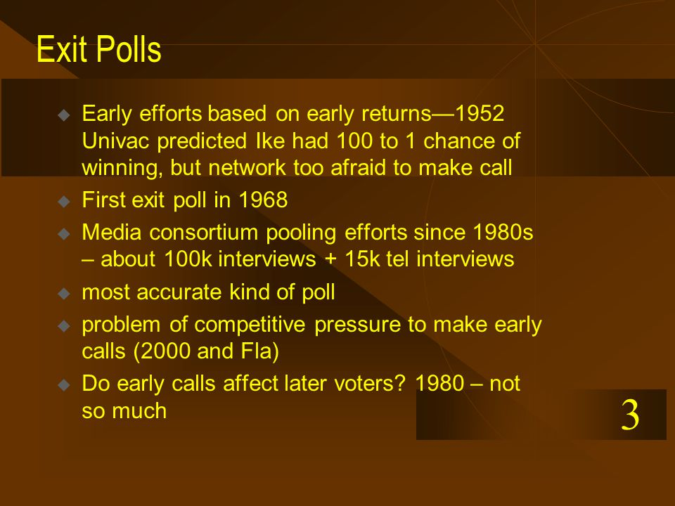 Exit Polls  Early efforts based on early returns—1952 Univac predicted Ike had 100 to 1 chance of winning, but network too afraid to make call  First exit poll in 1968  Media consortium pooling efforts since 1980s – about 100k interviews + 15k tel interviews  most accurate kind of poll  problem of competitive pressure to make early calls (2000 and Fla)  Do early calls affect later voters.