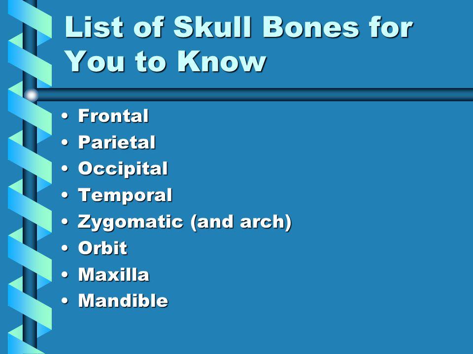 List of Skull Bones for You to Know FrontalFrontal ParietalParietal OccipitalOccipital TemporalTemporal Zygomatic (and arch)Zygomatic (and arch) OrbitOrbit MaxillaMaxilla MandibleMandible