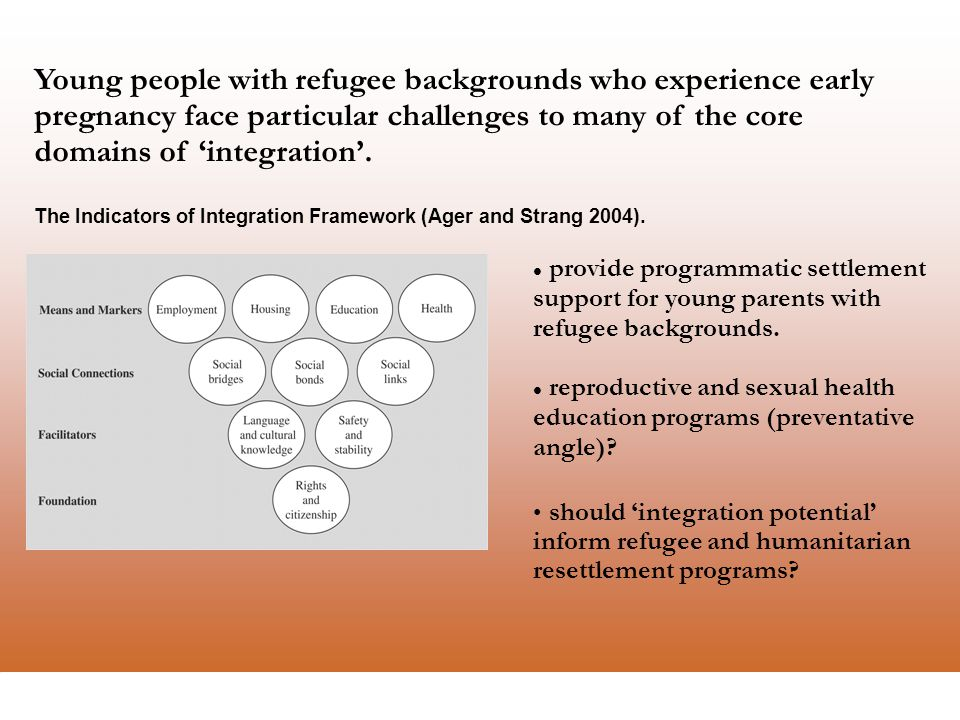 La Trobe Refugee Research Centre Young people with refugee backgrounds who experience early pregnancy face particular challenges to many of the core domains of 'integration'.
